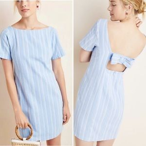 Anthropologie Cape May Bow Back Linen Mini Dress